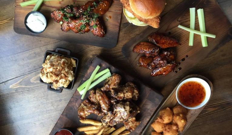 Mighty Quinn's spread of food