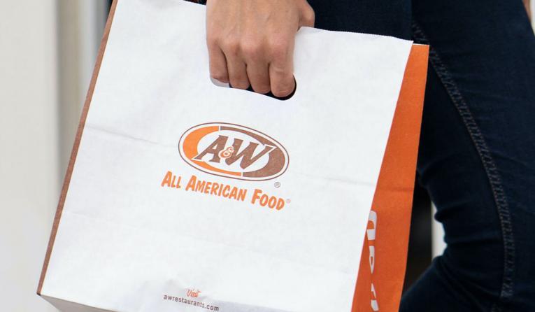 A&W Restaurants carryout bag.