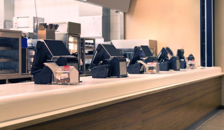 Fast food restaurant registers.