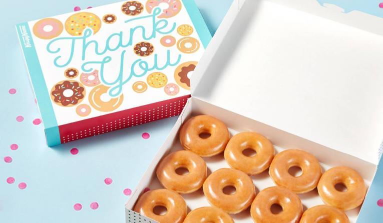 Krispy Kreme 'Thank you' doughnuts.