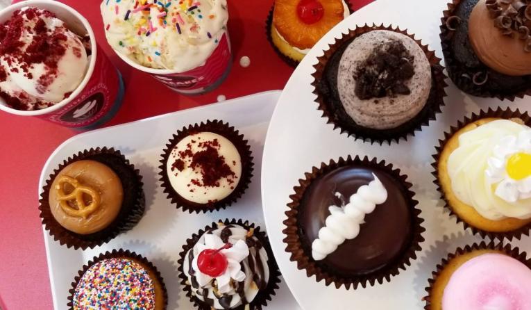 Smallcakes variety of cupcakes and ice cream.