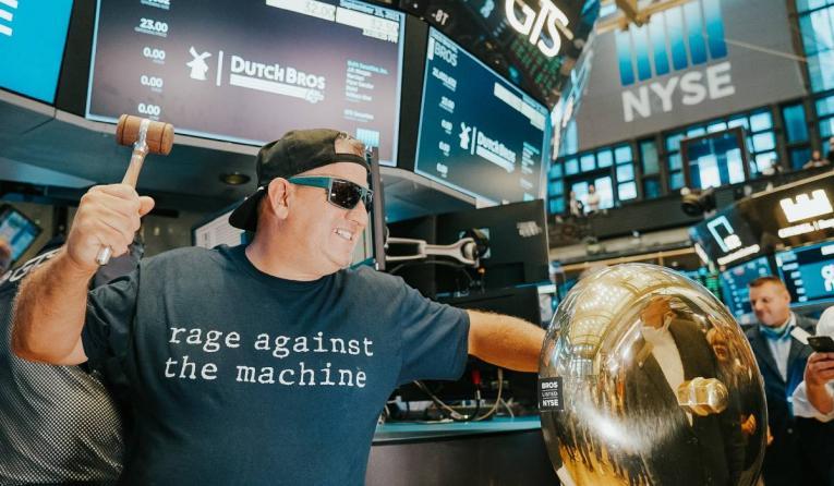 Travis Boersma ringing the stock market bell.