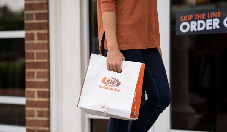 A&W Restaurants to-go bag.