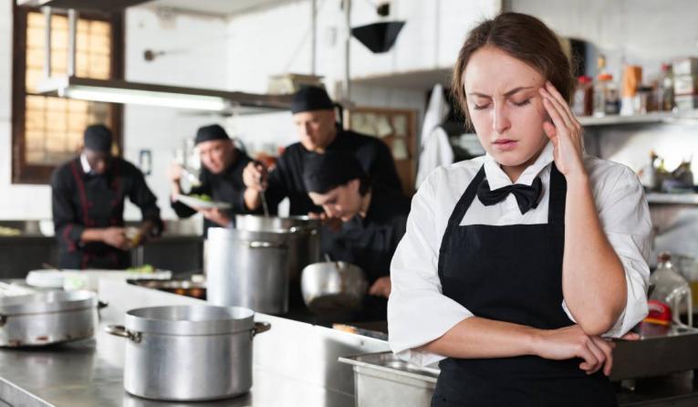 Dissatisfied waitress.