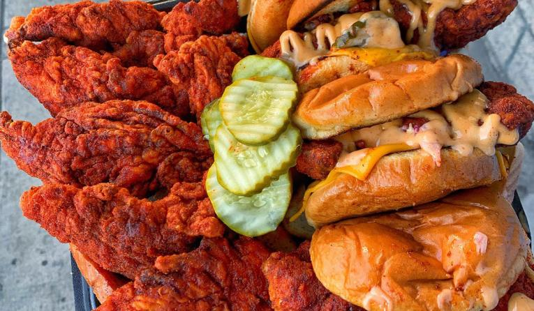 A platter of chicken tenders and sandwiches at Dave's Hot Chicken restaurant.