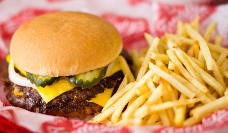 A burger and fries at Freddy's Frozen Custard & Steakburgers.
