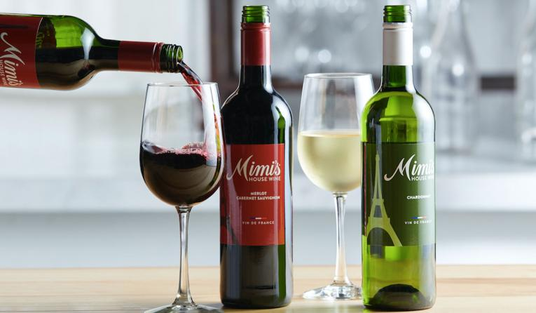 Two bottles of wine from Mimi's Bistro & Bakery.