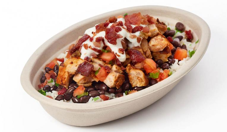 Applewood Smoked Bacon in a burrito bowl at Chipotle.