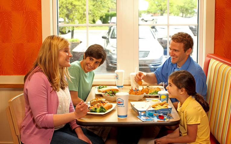 A family dining at Captain D's.