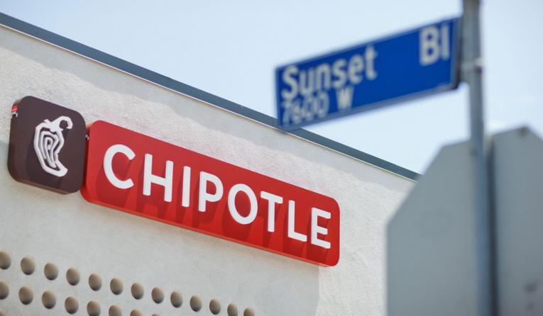 Chipotle restaurant in front of a Sunset Blvd sign.