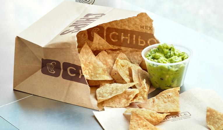 Guacamole and chips at Chipotle.