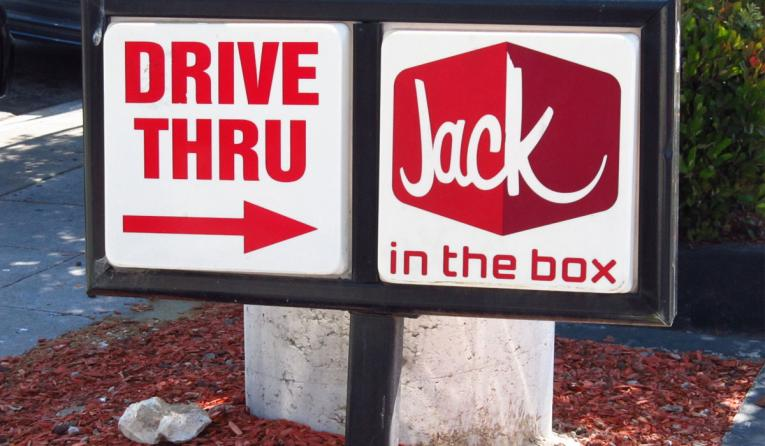 Jack in the Box drive-thru sign.