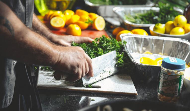 Vegetables being prepared.