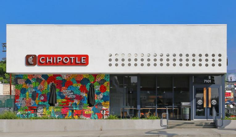 The colorful front of Chipotle in Melroe Ave. California.