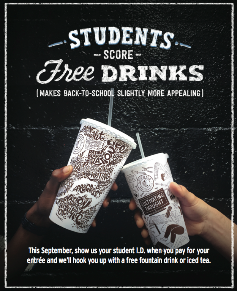 Chipotle serves free drinks to students as back to school program.