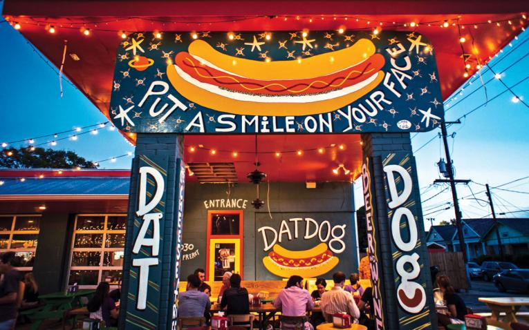 The exterior of Dat Dog fast casual restaurant.