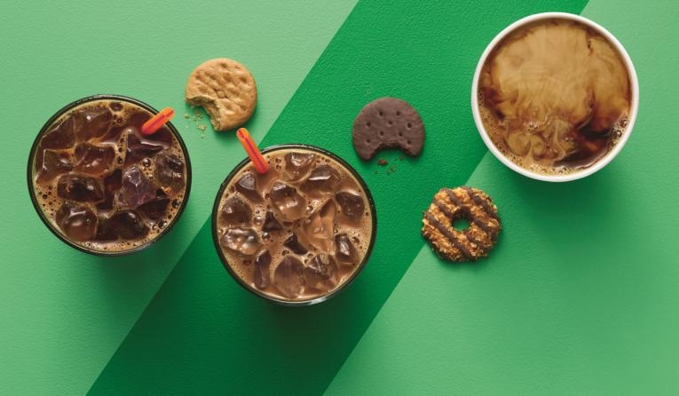 Dunkin' Donuts' girl scout cookie inspired flavors are now available.