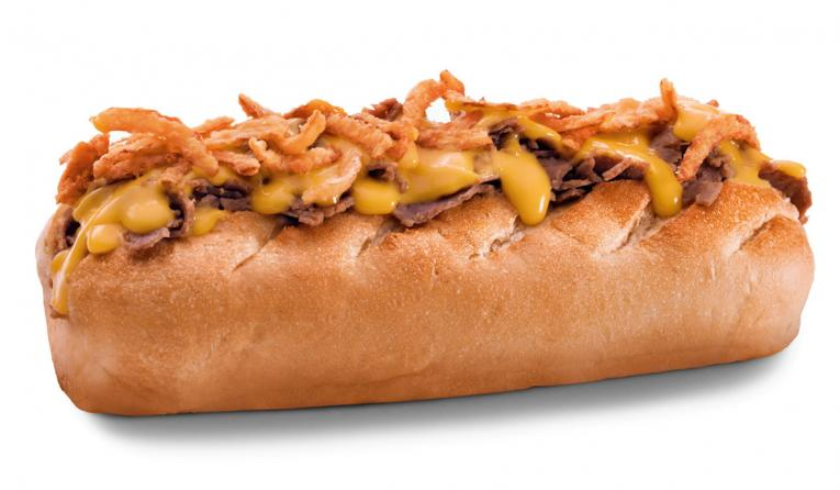 Firehouse Subs' savory steak sandwich is topped with a rich blend of sharp cheddar and American cheeses flavored with White Belgian-Style Wheat Ale, and crispy fried onions, served atop Firehouse Subs' signature toasted sub roll.