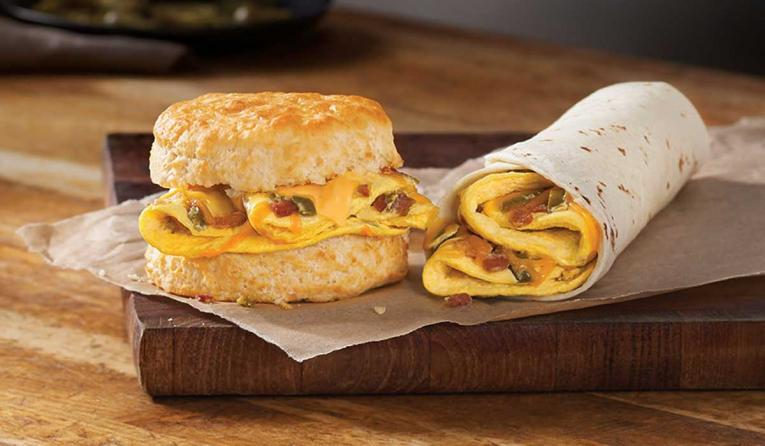Hardee's new Southwestern biscuit and burrito.