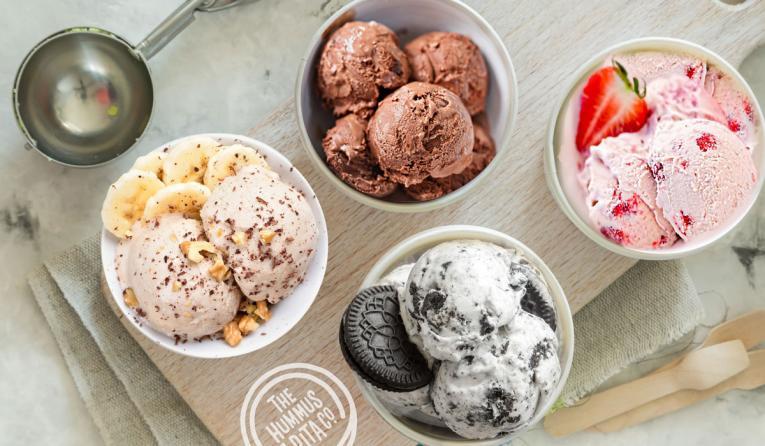 Four cups of hummus ice cream at The Hummus & Pita Co.