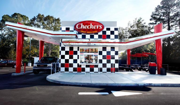Exterior of Checkers restaurant.