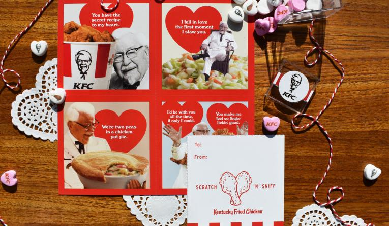 KFC is selling Valentine's Day cards that smell like chicken.