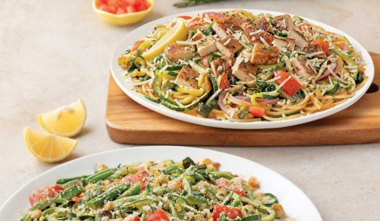 Noodles & Company Zucchini & Asparagus with Lemon Sauce and Zucchetti in White Wine Garlic Sauce with Balsamic Chicken