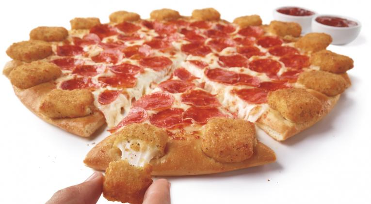 Pizza Hut adds new menu item with mozzarella sticks around crust.
