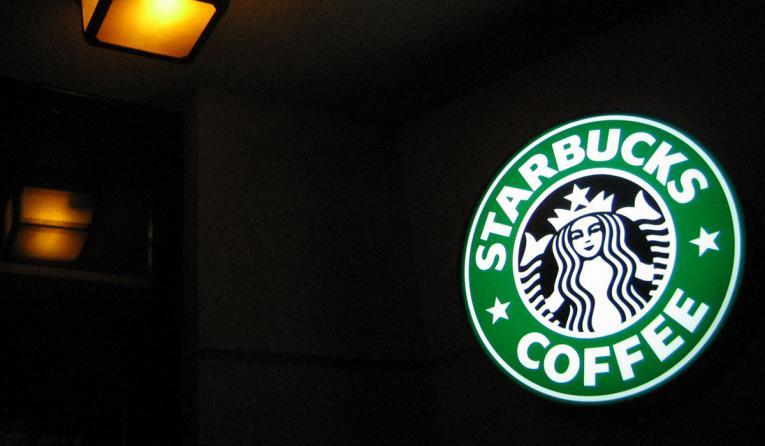Starbucks' sign.