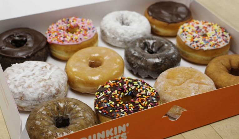 A box of Dunkin' Donuts. The chain is still winning breakfast.