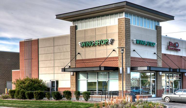 Wingstop restaurant storefront.