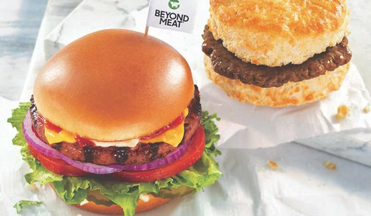 Hardee's Beyond Burger and Beyond sausage biscuit sandwich