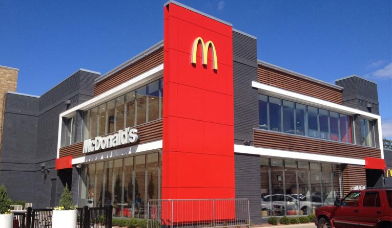 The exterior of a McDonald's restaurant.