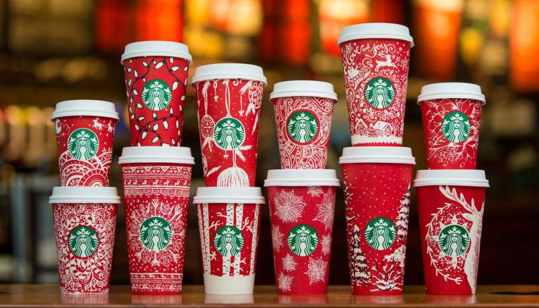 A collection of Starbucks' famed red cups. The brand is one of the most admired companies in the world, according to Fortune.
