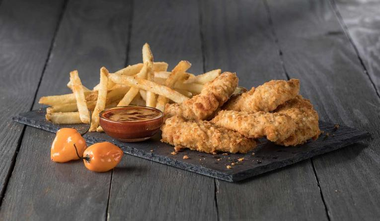 Slim Chickens chicken fingers and sauce.