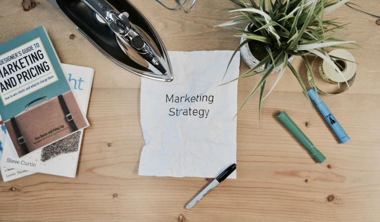 White printing paper with Marketing Strategy text.