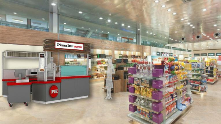 A rendering of Pizza Inn's new express concept, shown in a convenience store location.