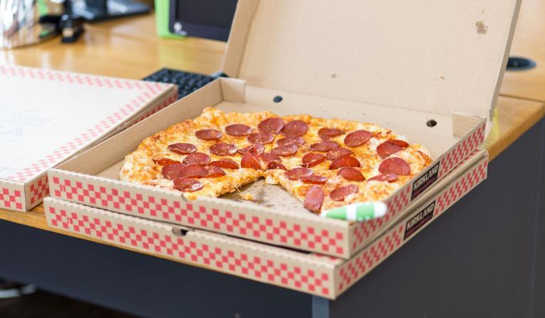 An open pizza box.