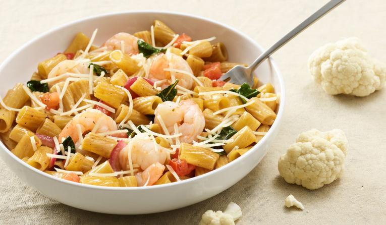 Cauliflower Rigatoni Fresca with Shrimp.