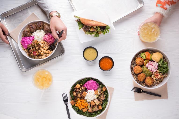 Noon Mediterranean's mew winter menu showcasing fresh bowls.