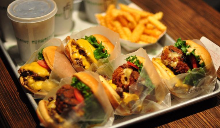 Plate of Shake Shack burgers.