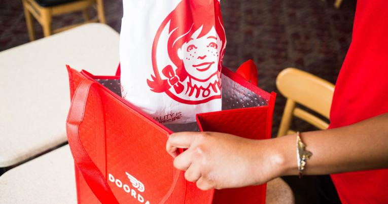 Wendy's placed in a DoorDash delivery bag.