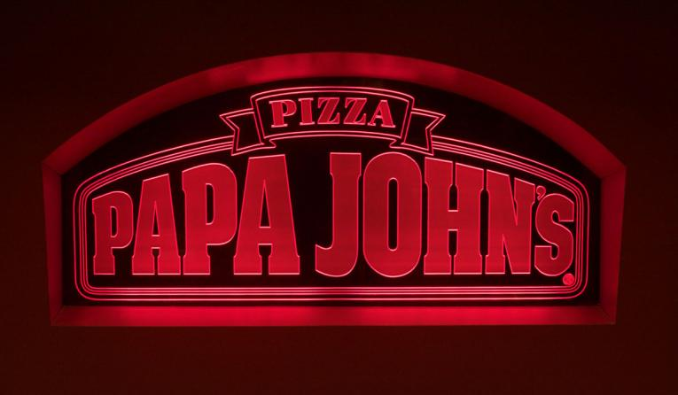 Papa John's logo in red.