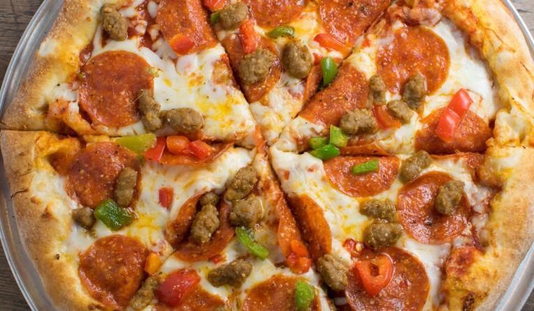 Large pizza at Mr. Gatti's.