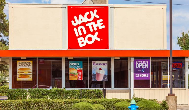 Jack in the Box restaurant storefront.