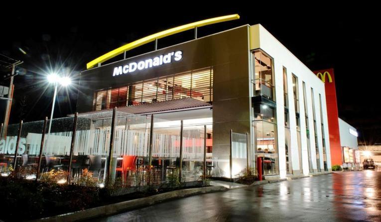 The exterior of a McDonald's restaurant.