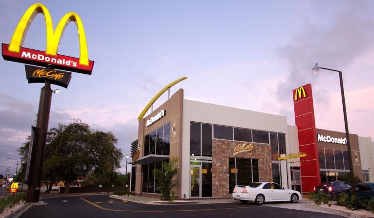 McDonald's exterior with drive thru.