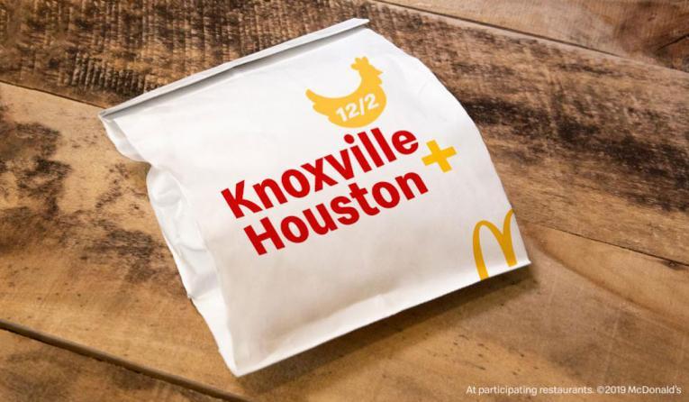 McDonald's chicken sandwich in a bag.