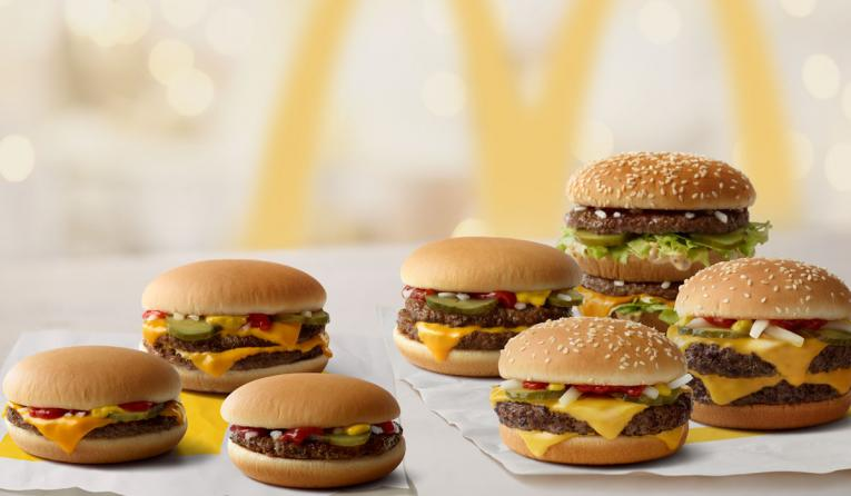 A lineup of McDonald's burgers.