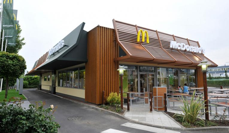 Exterior of a McDonald's in France.
